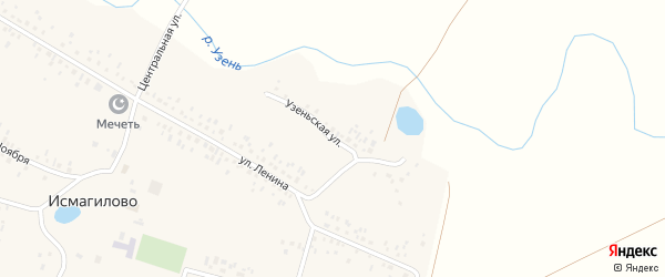 Узеньская улица на карте села Исмагилово с номерами домов