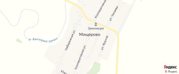 Переулок Южная на карте деревни Мищерово с номерами домов