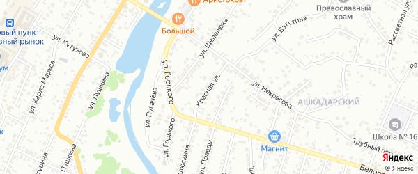 Красная улица на карте Стерлитамака с номерами домов