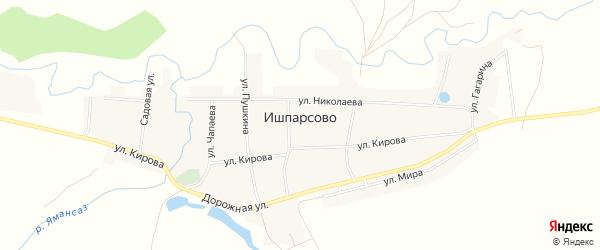 Карта села Ишпарсово в Башкортостане с улицами и номерами домов
