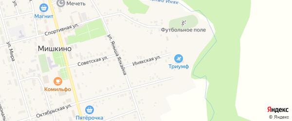 Инякская улица на карте села Мишкино с номерами домов
