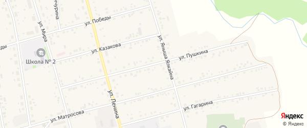 Улица Пушкина на карте села Мишкино с номерами домов
