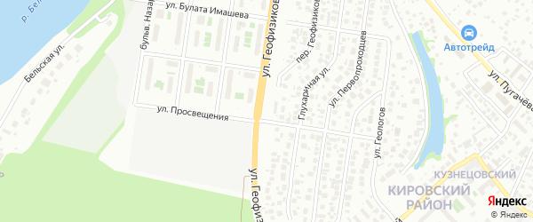 Улица Геофизиков на карте Уфы с номерами домов