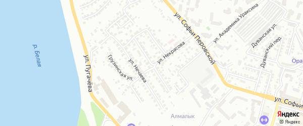 Нагорная 1-я улица на карте Уфы с номерами домов