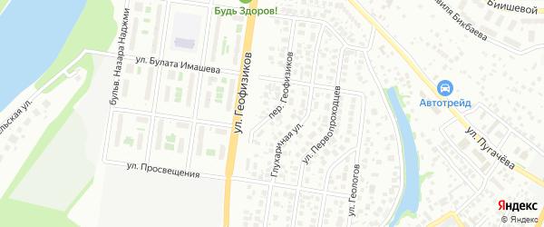 Переулок Геофизиков на карте Уфы с номерами домов