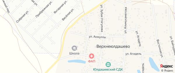 Школьная улица на карте деревни Верхнеюлдашево с номерами домов