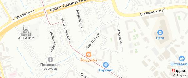 Брестская улица на карте Уфы с номерами домов
