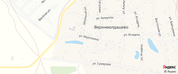 Улица Муртазина на карте деревни Верхнеюлдашево с номерами домов
