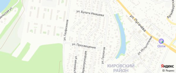 Улица Первопроходцев на карте Уфы с номерами домов