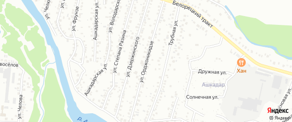 Улица Орджоникидзе на карте Стерлитамака с номерами домов