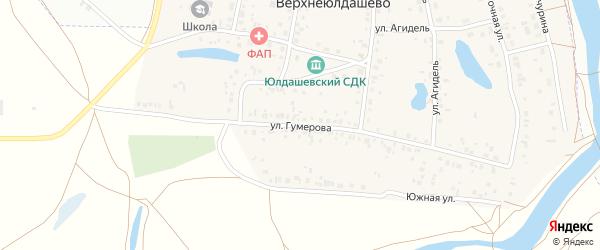 Улица Гумерова на карте деревни Верхнеюлдашево с номерами домов