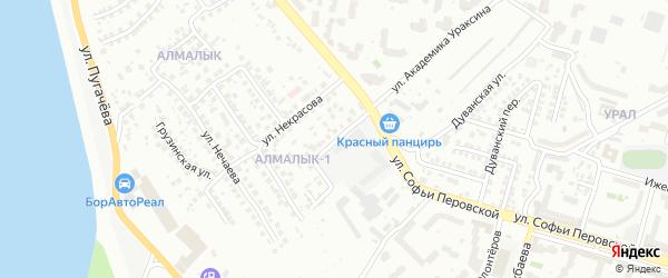 Некрасовский переулок на карте Уфы с номерами домов