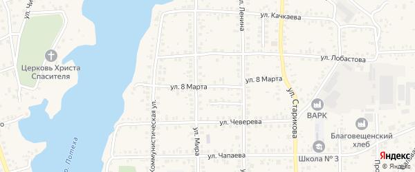 Улица 8 Марта на карте Благовещенска с номерами домов