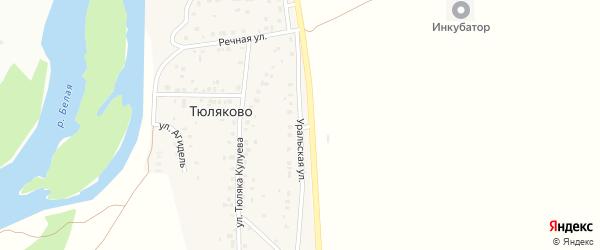Уральская улица на карте деревни Тюляково с номерами домов