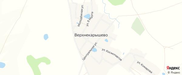 Карта деревни Верхнекарышево в Башкортостане с улицами и номерами домов