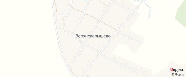 Центральная улица на карте деревни Верхнекарышево с номерами домов