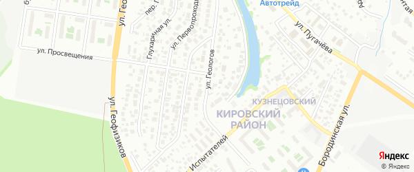 Улица Геологов на карте Уфы с номерами домов