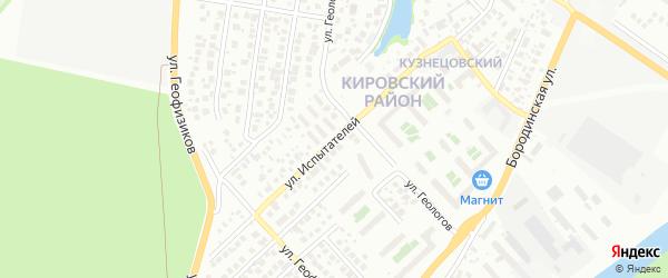 Улица Испытателей на карте Уфы с номерами домов