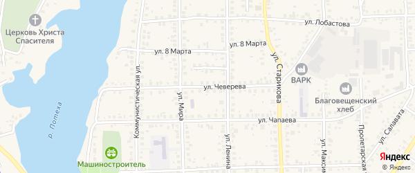 Улица Чеверева на карте Благовещенска с номерами домов