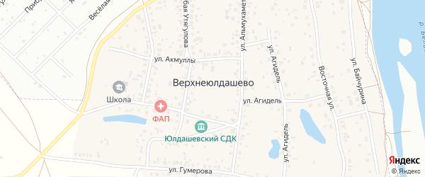 Улица Акмуллы на карте деревни Верхнеюлдашево с номерами домов