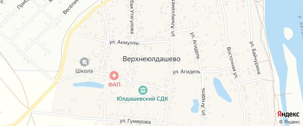 Южная улица на карте деревни Верхнеюлдашево с номерами домов