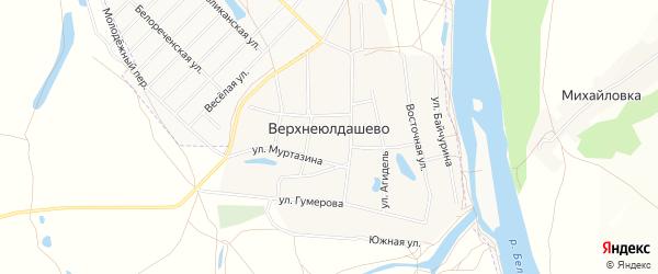 Карта деревни Верхнеюлдашево в Башкортостане с улицами и номерами домов