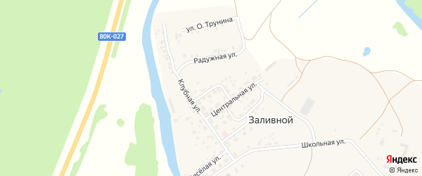 Гаражная улица на карте села Заливной с номерами домов