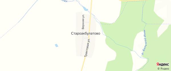 Карта деревни Староакбулатово в Башкортостане с улицами и номерами домов