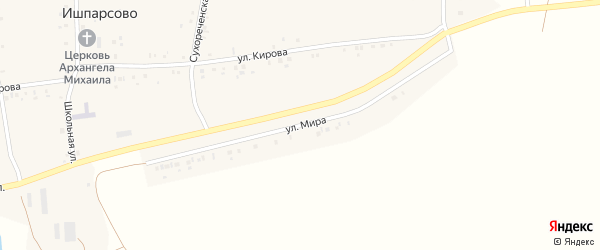 Улица Мира на карте села Ишпарсово с номерами домов