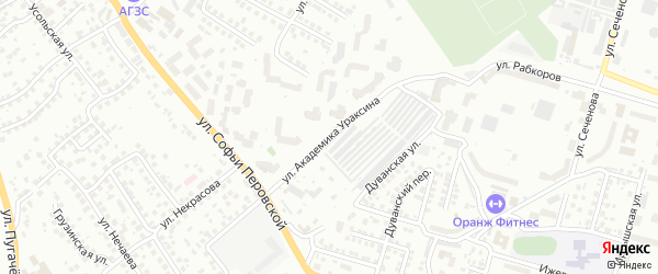 Улица Академика Ураксина на карте Уфы с номерами домов