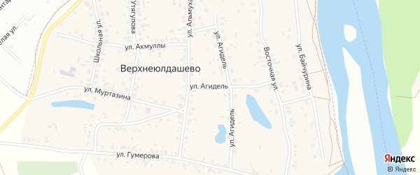 Улица Агидель на карте деревни Верхнеюлдашево с номерами домов