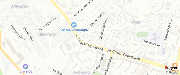 Дуванский 2-й переулок на карте Уфы с номерами домов