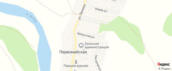 Уральская улица на карте Первомайской деревни с номерами домов