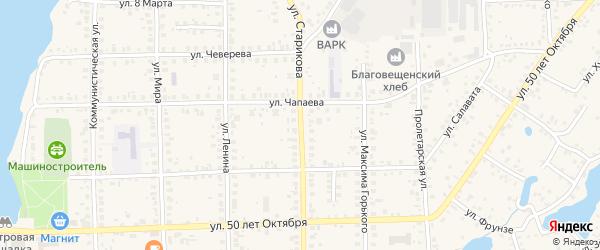 Улица Старикова на карте Благовещенска с номерами домов