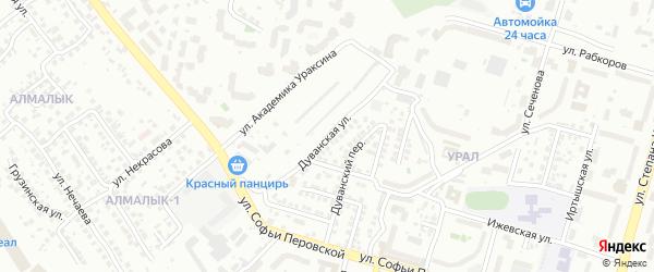 Дуванская улица на карте Уфы с номерами домов