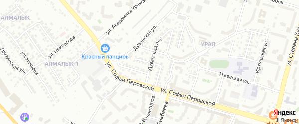 Дуванский 1-й переулок на карте Уфы с номерами домов
