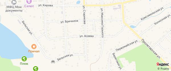 Улица Асеева на карте Благовещенска с номерами домов