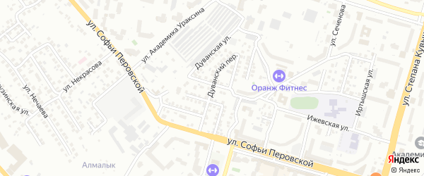 Дуванский переулок на карте Уфы с номерами домов