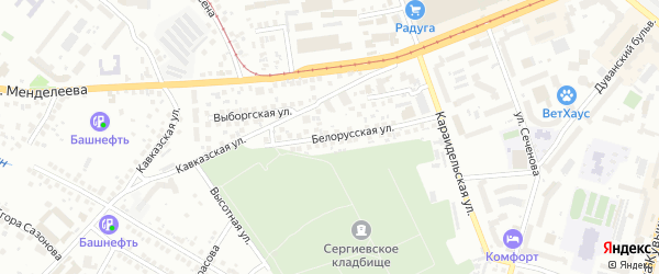 Белорусская улица на карте Уфы с номерами домов