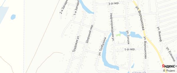 Широкий переулок на карте Ишимбая с номерами домов
