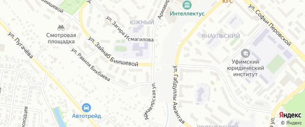 Армавирская улица на карте Уфы с номерами домов