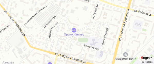 Абзановский 2-й переулок на карте Уфы с номерами домов