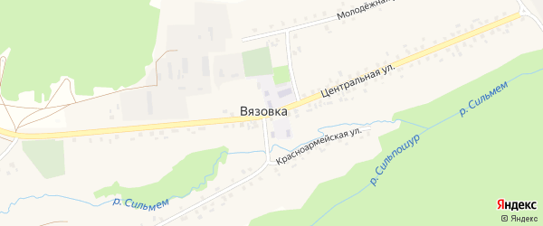 Центральная улица на карте села Вязовки с номерами домов
