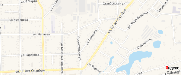 Улица Салавата на карте Благовещенска с номерами домов