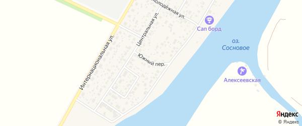 Южный переулок на карте деревни Алексеевки с номерами домов