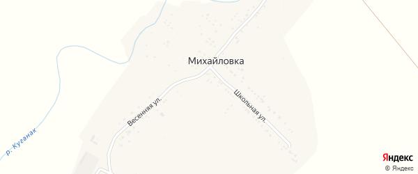 Весенняя улица на карте деревни Михайловки с номерами домов