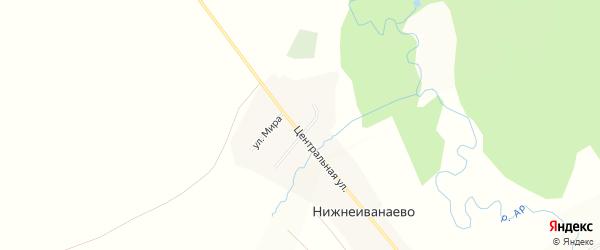 Карта деревни Нижнеиванаево в Башкортостане с улицами и номерами домов