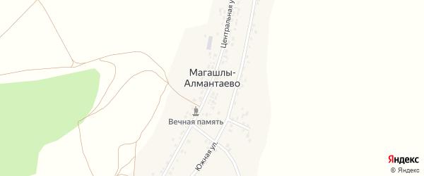 Южная улица на карте деревни Магашлы-Алмантаево с номерами домов