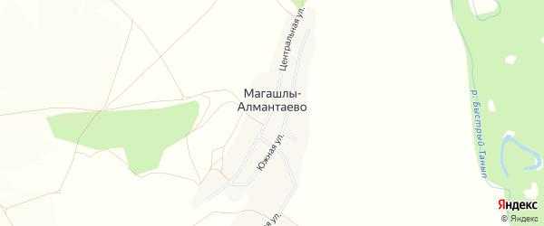 Карта деревни Магашлы-Алмантаево в Башкортостане с улицами и номерами домов