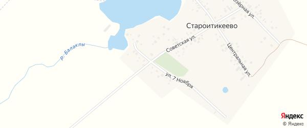 Улица 7 Ноября на карте деревни Староитикеево с номерами домов
